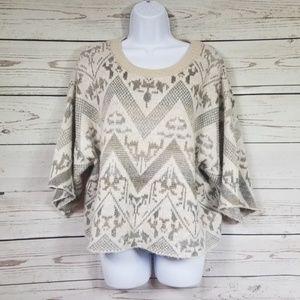 FREE PEOPLE Aztec boho acrylic wool crop sweater
